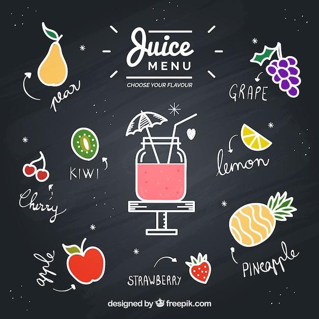 描かれた果物と黒板 無料ベクター