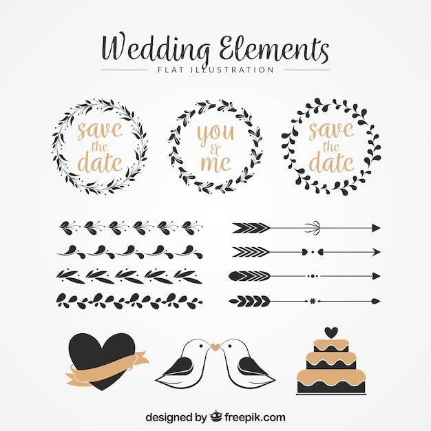 花の花輪や他のヴィンテージの結婚式の装飾品のパック 無料ベクター