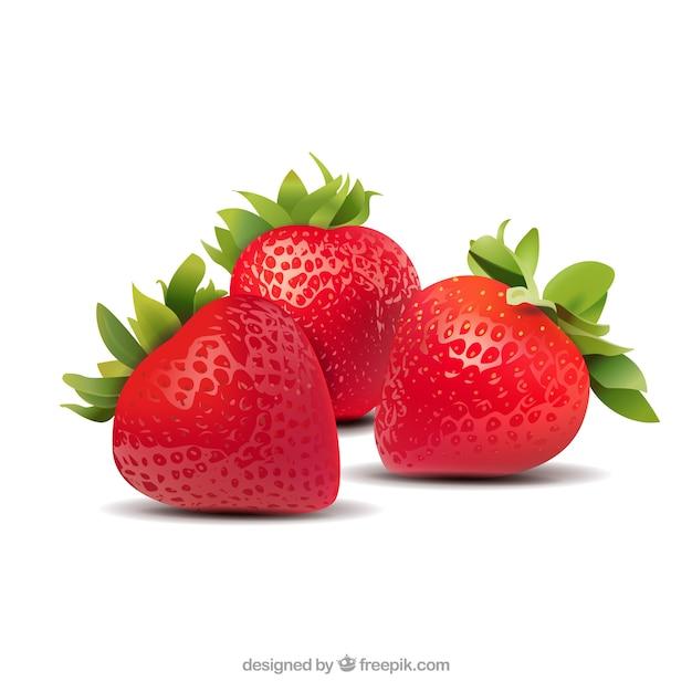 現実的なスタイルのイチゴの背景 無料ベクター