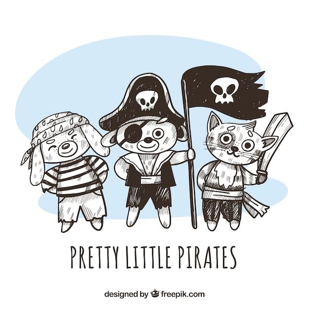 手描きの海賊動物の背景 無料ベクター