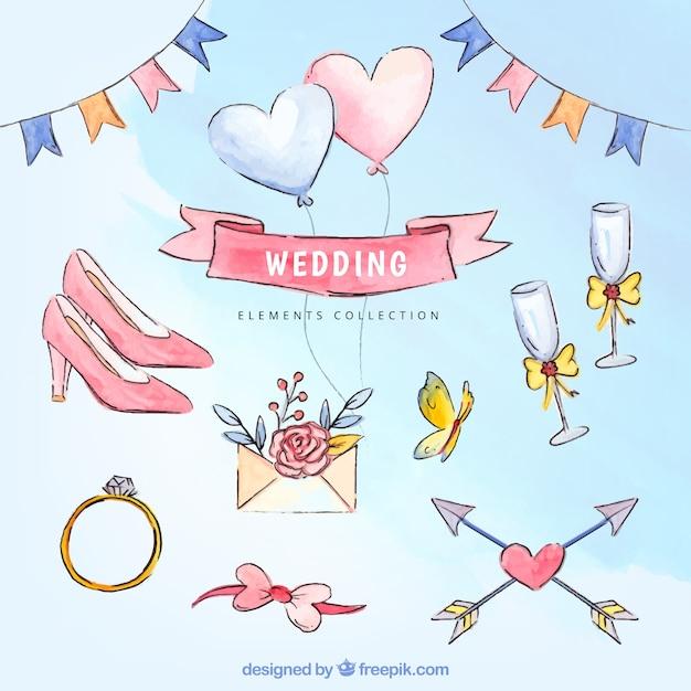 Ассортимент великолепных свадебных элементов акварели Бесплатные векторы