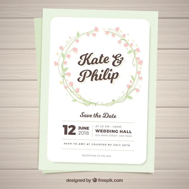 花輪の結婚式招待状のかなりのテンプレート ベクター画像 無料ダウンロード