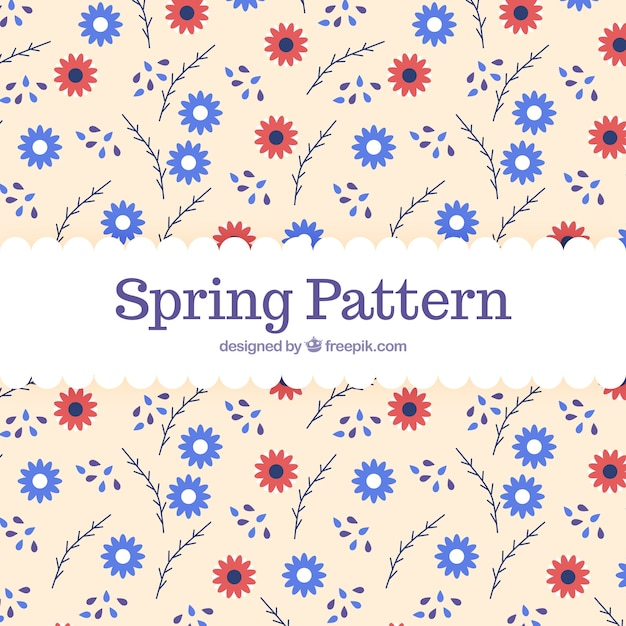 春のパターンの背景 無料ベクター
