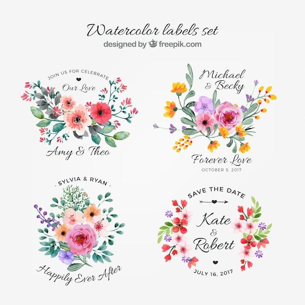 花のラベルの水彩コレクション 無料ベクター