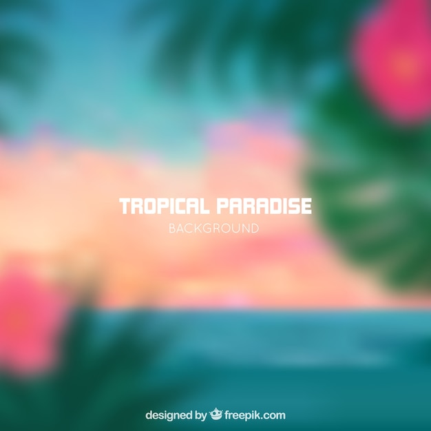 ぼやけた熱帯の楽園の背景 無料ベクター