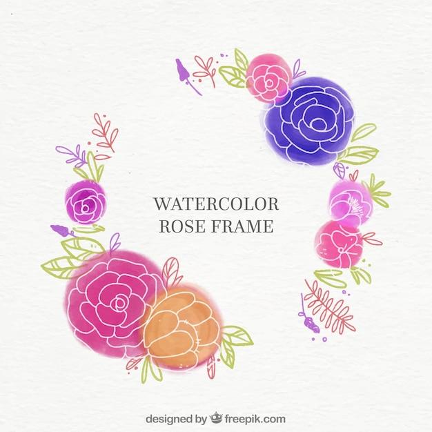 水彩バラのフレーム 無料ベクター