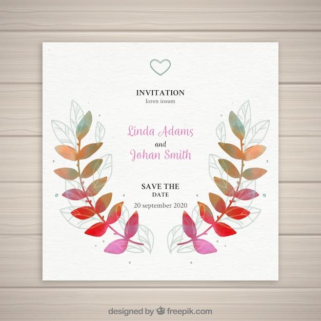 カラフルな葉の結婚式招待状 無料ベクター