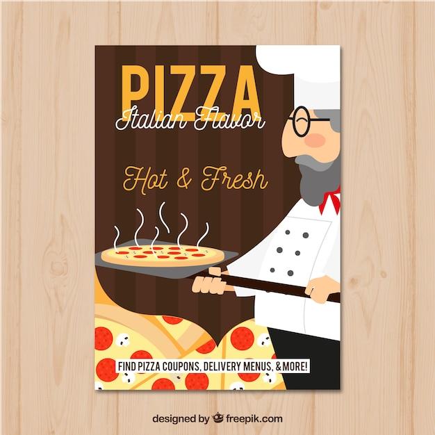 伝統的なイタリアのピザフライヤー 無料ベクター