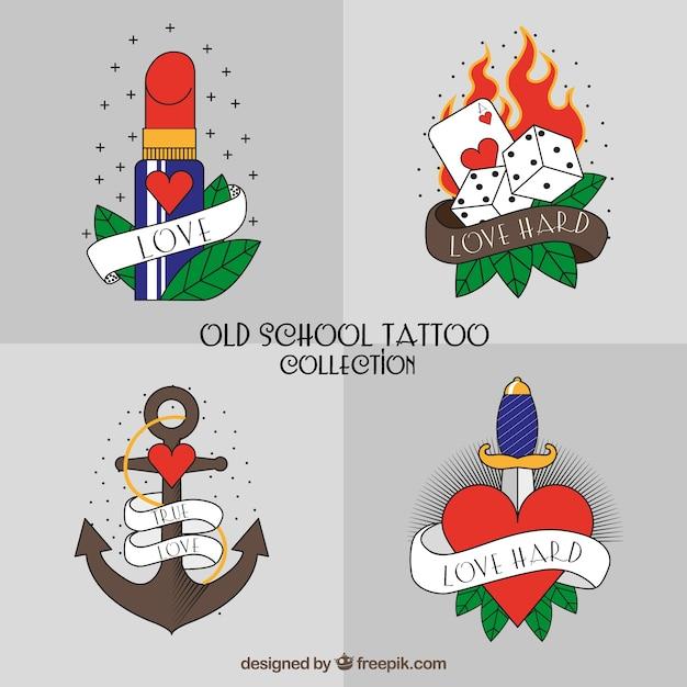 現代の古い学校のタトゥーコレクション 無料ベクター