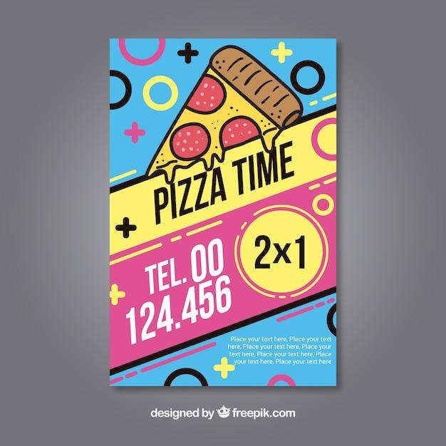 カラフルなフライヤーピザ 無料ベクター