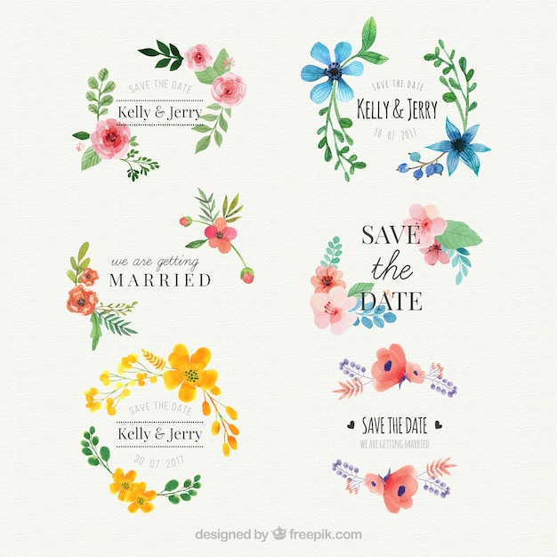 花の水彩の結婚式のステッカーセット 無料ベクター