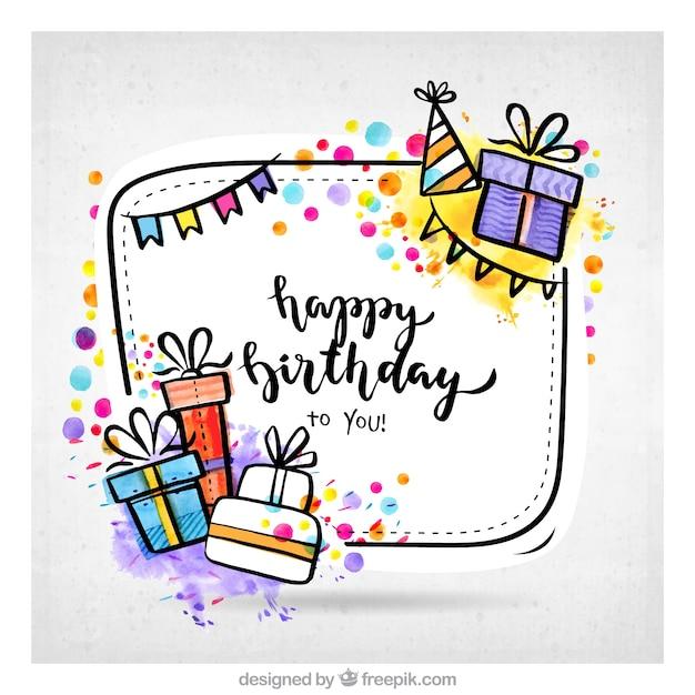 手描きの誕生日プレゼントの背景 無料ベクター