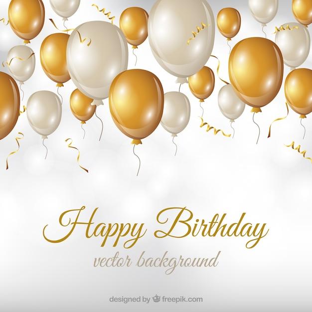 白と金色の風船と誕生日の背景 無料ベクター