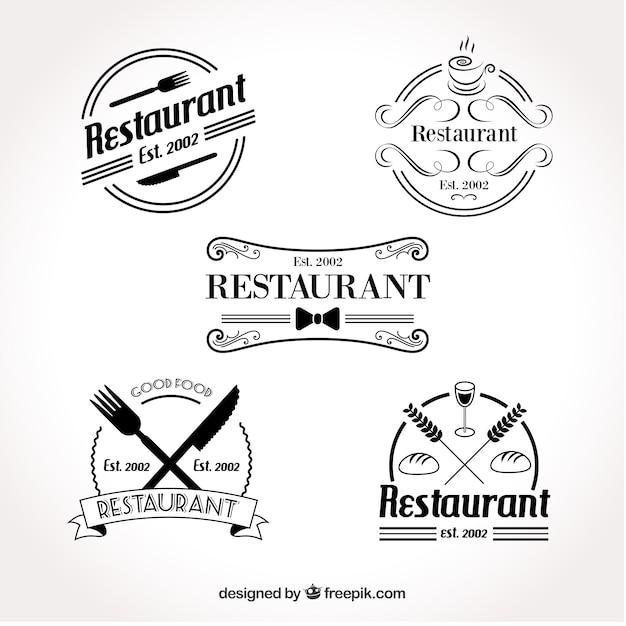 レトロなレストランのロゴのセット 無料ベクター