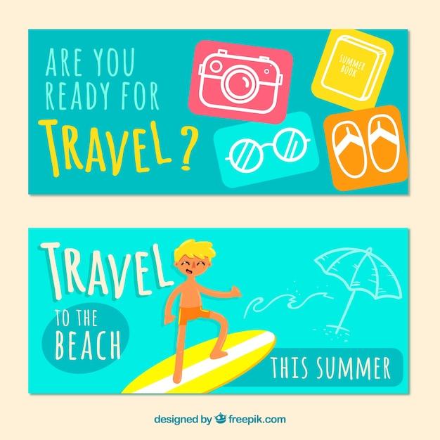 夏の旅行のバナー 無料ベクター