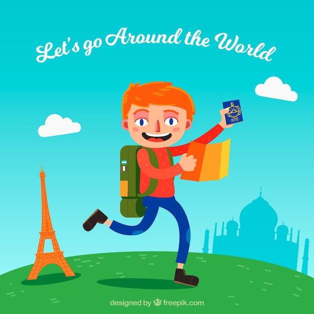 世界のバックグラウンドを旅行する 無料ベクター