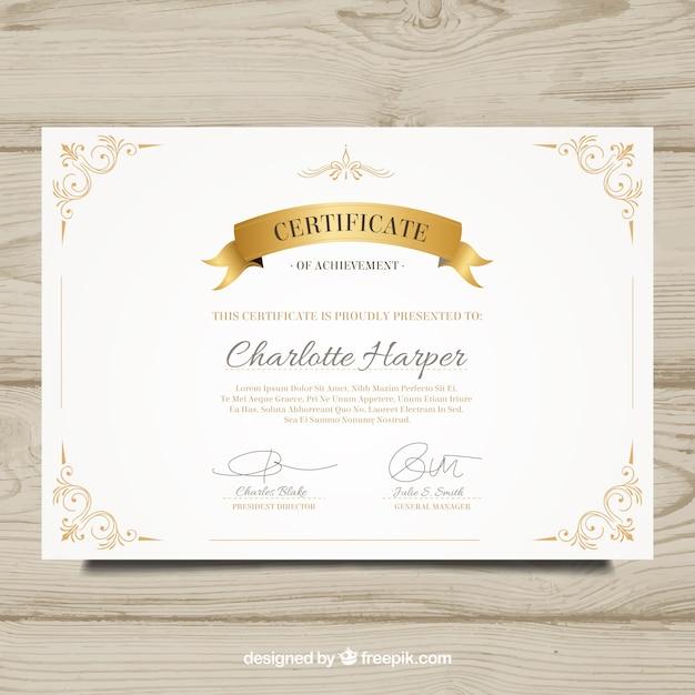 装飾的な黄金の要素を持つエレガントな卒業証書 無料ベクター