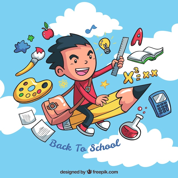Творческий мальчик фон со школьными элементами Бесплатные векторы