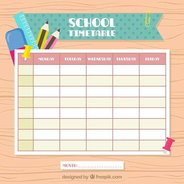 Винтажный школьный календарь Бесплатные векторы