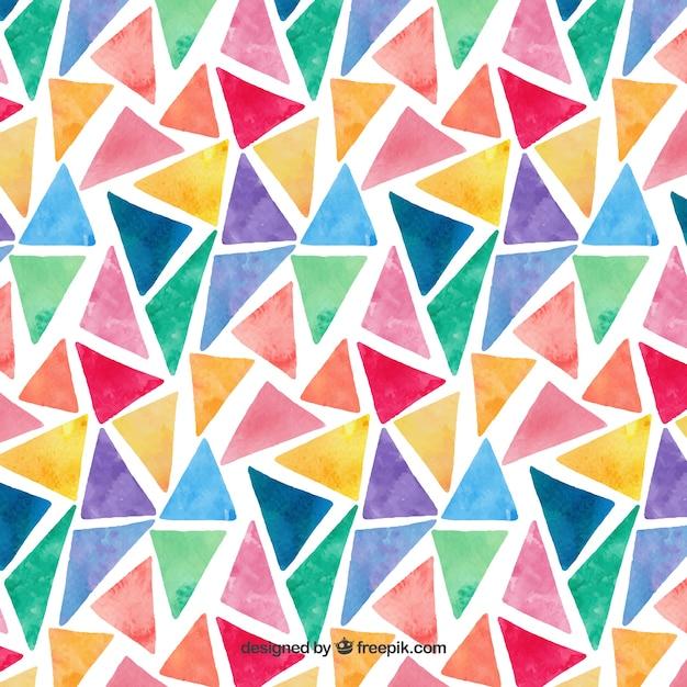カラフルな水彩三角形のパターン 無料ベクター