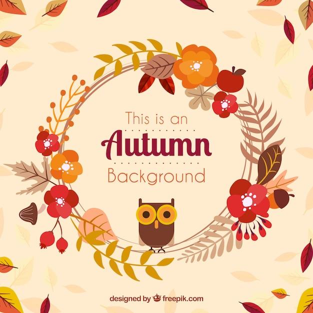 花のフレームには、フクロウと秋の背景 無料ベクター