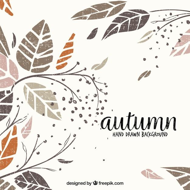 エレガントなスタイルで手描きの秋の背景 無料ベクター