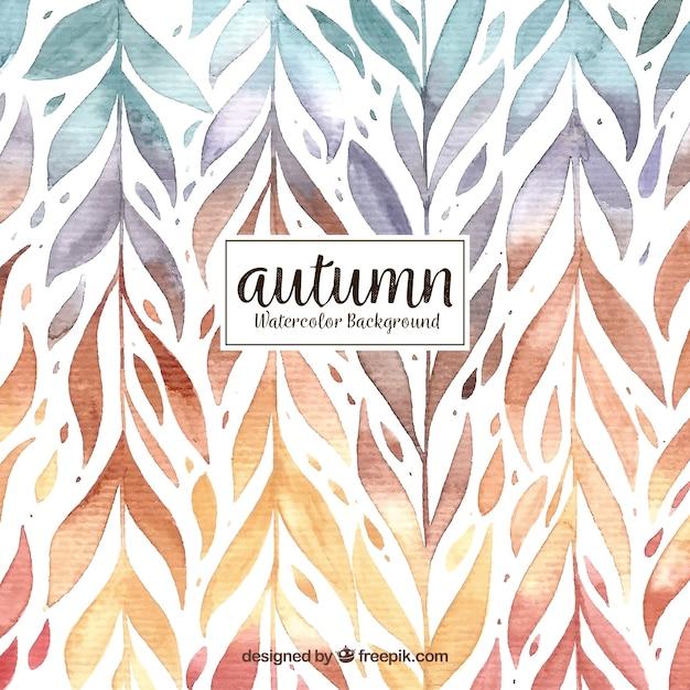 葉のパターンと水彩秋の背景 無料ベクター