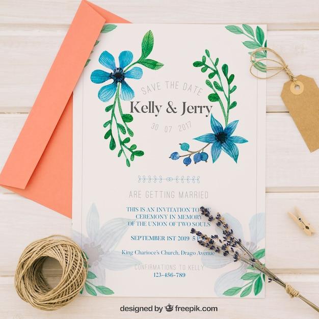 青い水彩花の結婚式招待状 無料ベクター