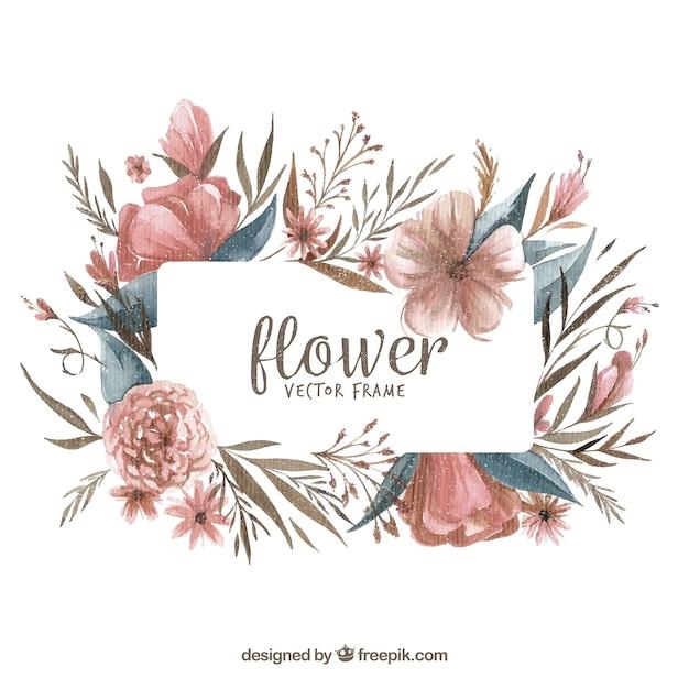 現代の水彩花のフレーム 無料ベクター