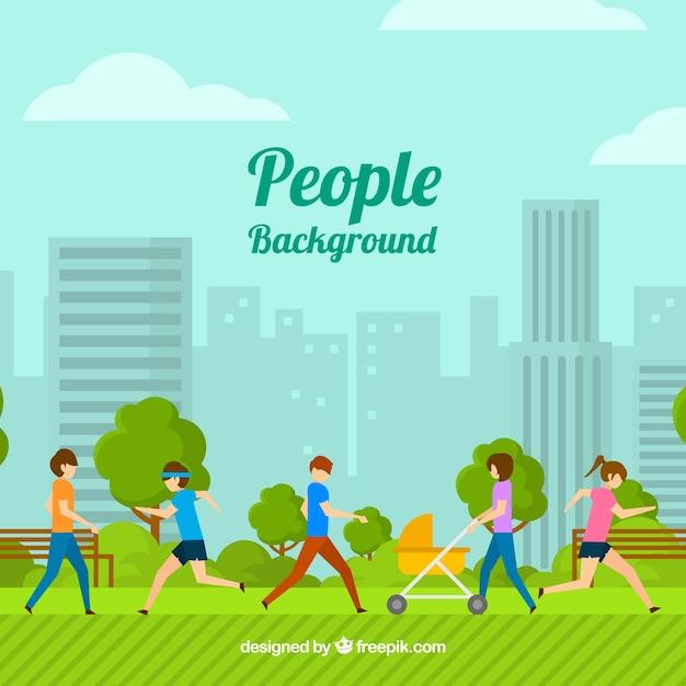公園で人々のトレーニングと平らな背景 無料ベクター