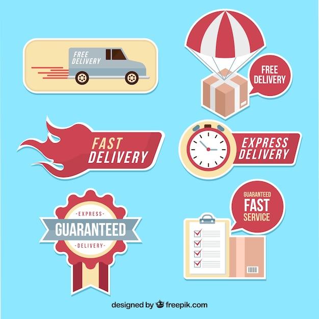 Современный набор ярлыков для доставки подарков Бесплатные векторы