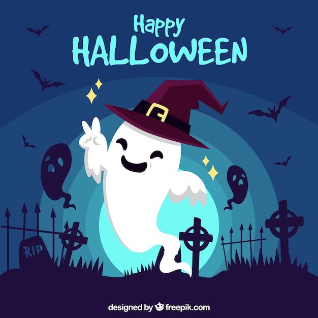 面白い幽霊とハッピーハロウィンの背景 ベクター画像 無料ダウンロード