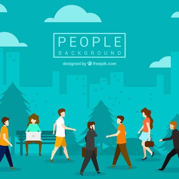 フラットデザインで歩く人々の背景 無料ベクター