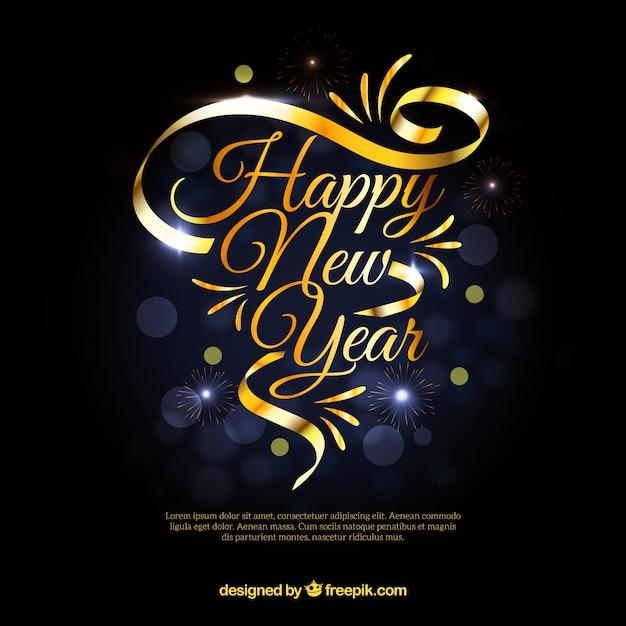 ゴールデンリボンの新年の背景 無料ベクター