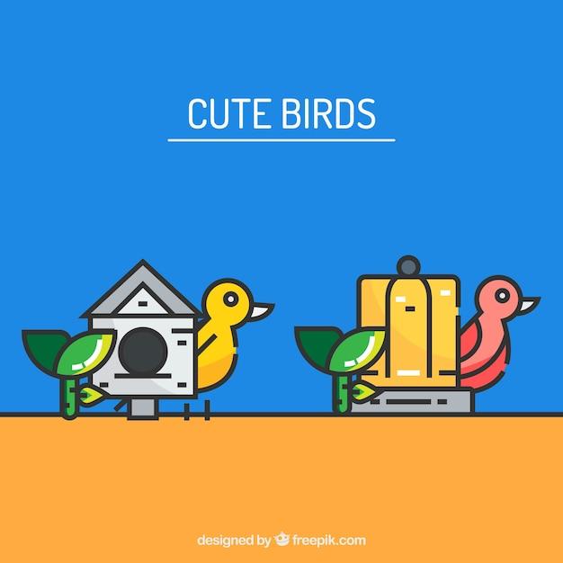 かわいい鳥のケージベクトル 無料ベクター