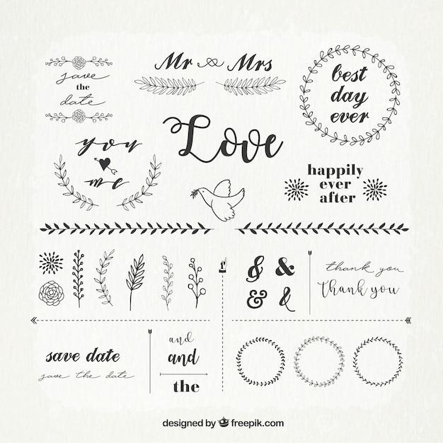 結婚式の装飾品のビンテージパック 無料ベクター