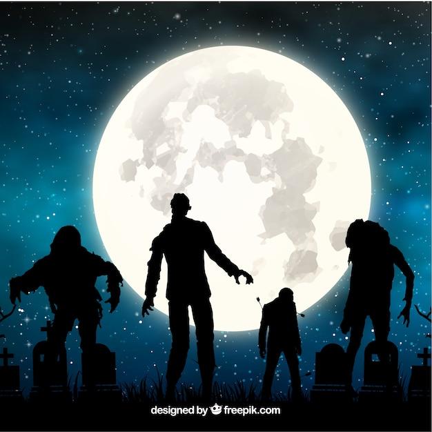 ゾンビと満月のハロウィーンの背景 無料ベクター