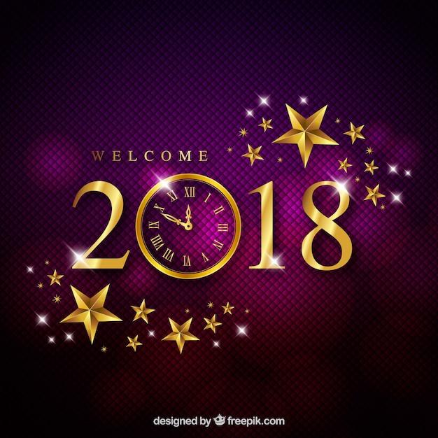エレガントな紫色の新年の背景 無料ベクター