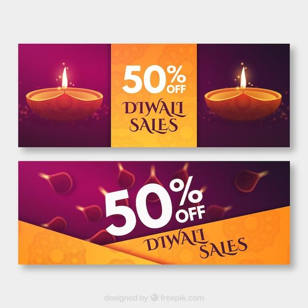 Рекламные баннеры Diwali Бесплатные векторы