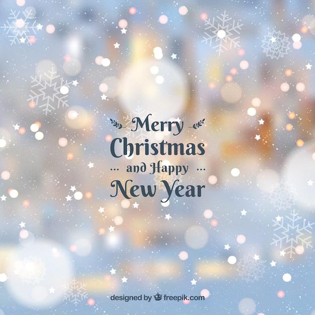 曇った背景メリークリスマスと幸せな新年 無料ベクター