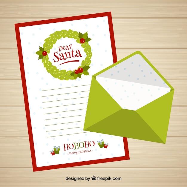 親愛なるサンタの手紙のテンプレートと緑の封筒 ベクター画像 無料