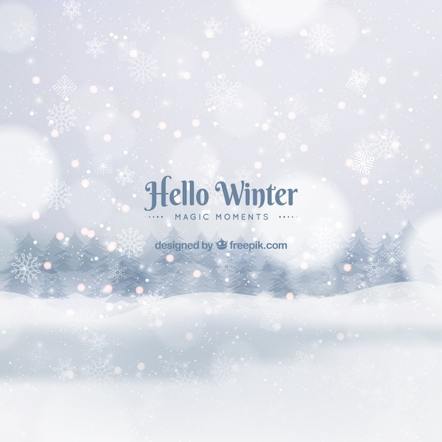こんにちは、冬、魔法の瞬間 無料ベクター