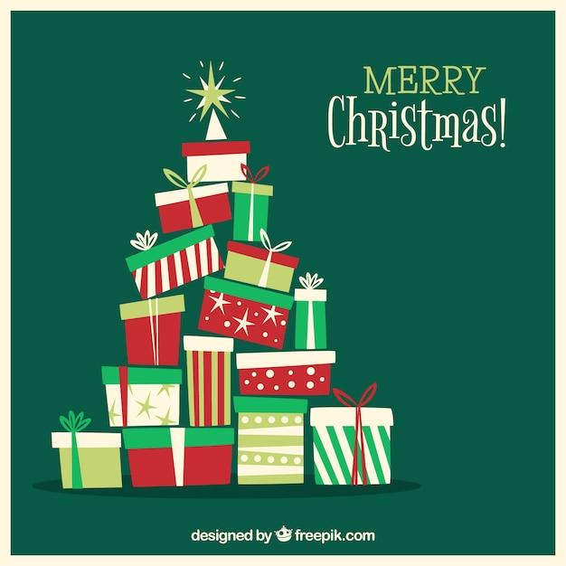 ギフトボックスのクリスマスツリー 無料ベクター