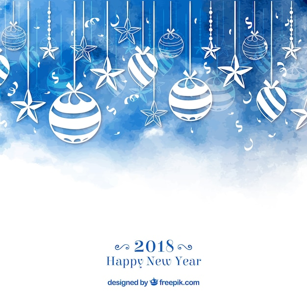 青い水彩の新年2018の背景とbaubles 無料ベクター