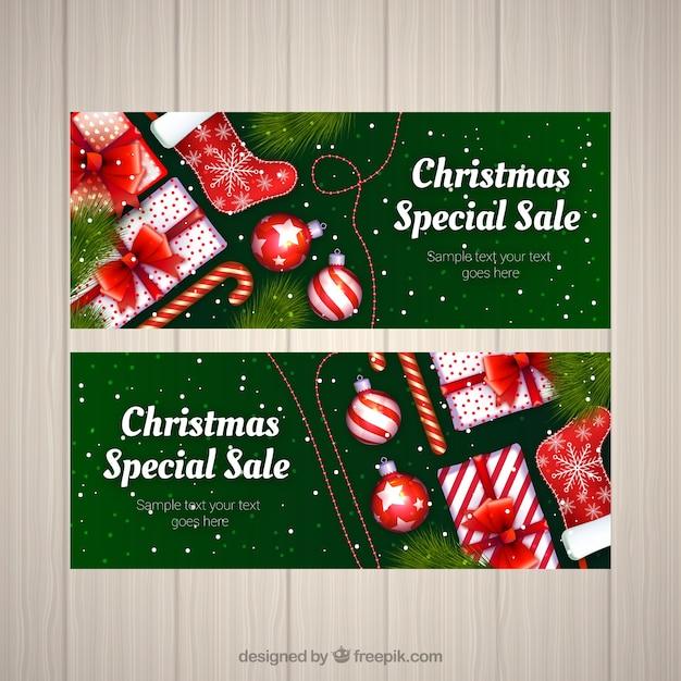 Рождественские баннеры для продажи Бесплатные векторы