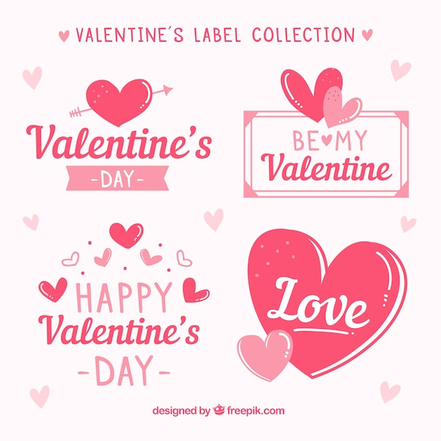 手描きのバレンタインデーのラベル/バッジコレクション 無料ベクター