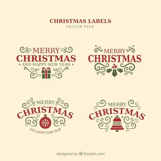 Рождественские типографские элементы, старинные этикетки и ленты Бесплатные векторы