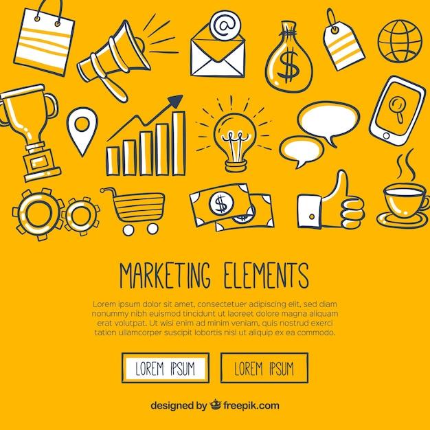 Современный желтый фон с элементами маркетинга Бесплатные векторы