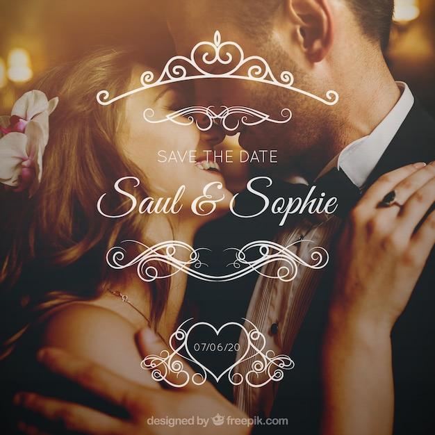 カップルと結婚式のデザイン 無料ベクター
