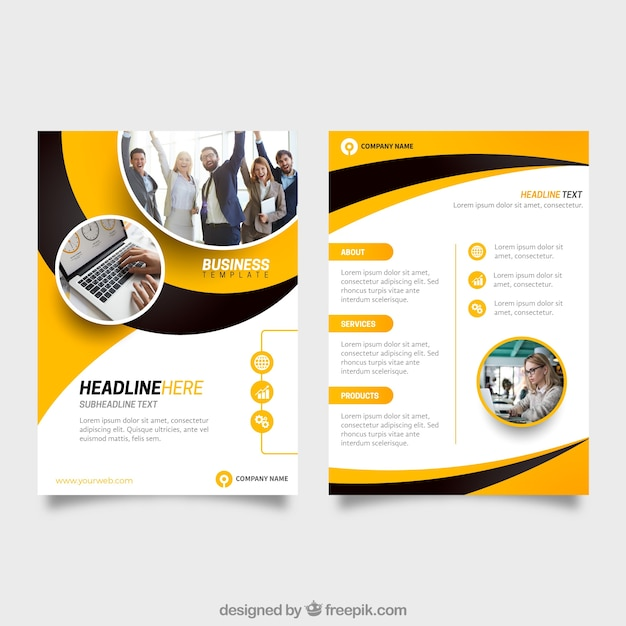 黄色と黒のビジネスフライヤーテンプレート 無料ベクター